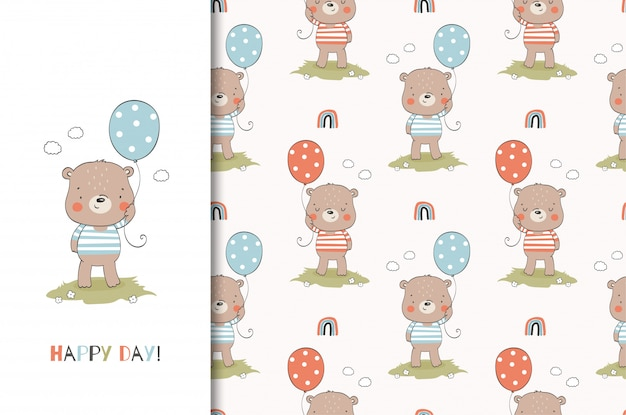 Cartoon lustiger teddybabybär mit ballon. tierkartenschablone und nahtloses muster. hand gezeichnetes design