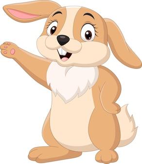 Cartoon lustiges kaninchen lokalisiert auf weißem hintergrund