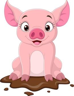 Cartoon lustiges schwein, das im schlamm sitzt
