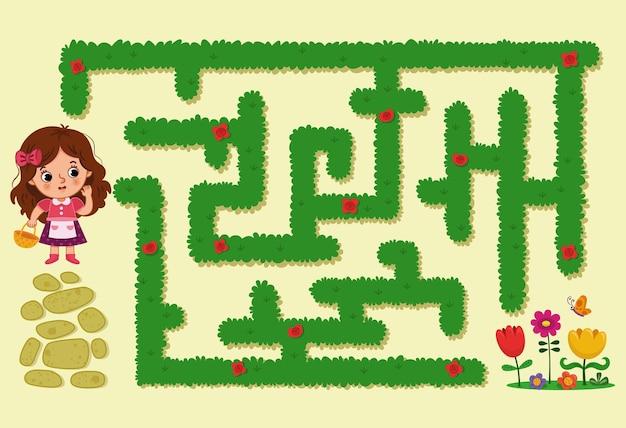 Cartoon-mädchen-charakter im labyrinth labyrinth-spiel für kinder-vektor-illustration