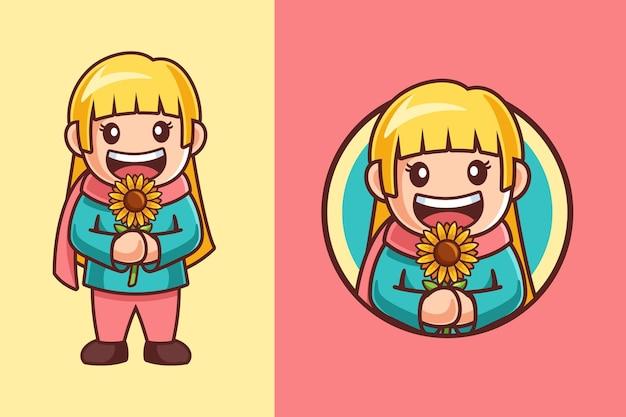 Cartoon-mädchen hält eine sonnenblume