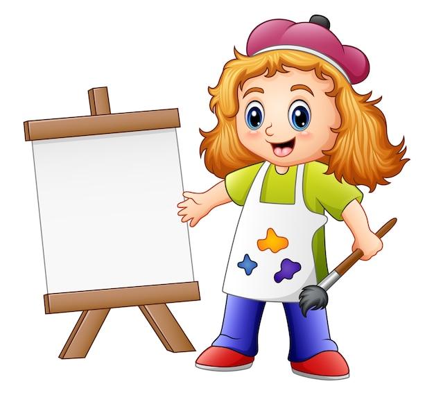 Cartoon mädchen malerei