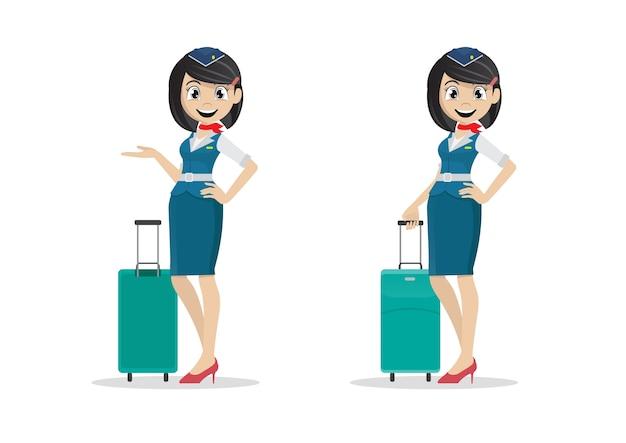 Cartoon mädchen stewardess.