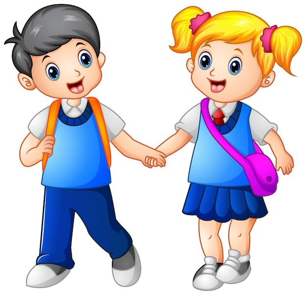 Cartoon mädchen und jungen gehen zusammen zur schule