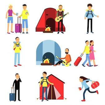 Cartoon männer und frauen touristen charaktere gesetzt. camping erholung mit gitarre, wandern, menschen mit gepäck, familienurlaub