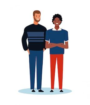 Cartoon männliche freunde stehen