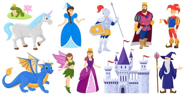 Cartoon märchen mittelalterliche magische weltfiguren. fantasy märchenprinzessin, einhorn, ritter, zauberer, drachenvektorillustrationssatz. märchenhafte magische welthelden