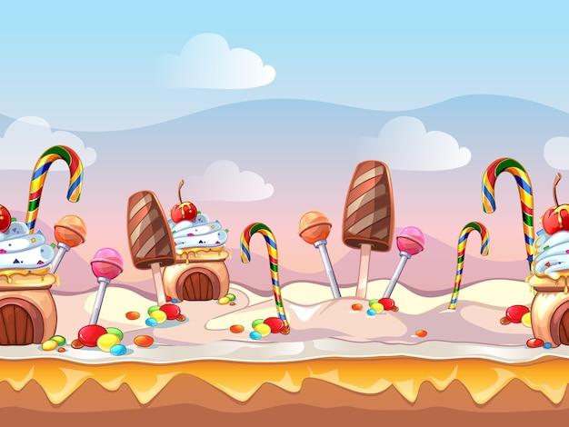 Cartoon märchen süßigkeiten nahtlose szene für computerspiel. süßes design, lebensmitteldekoration, dessertkuchen
