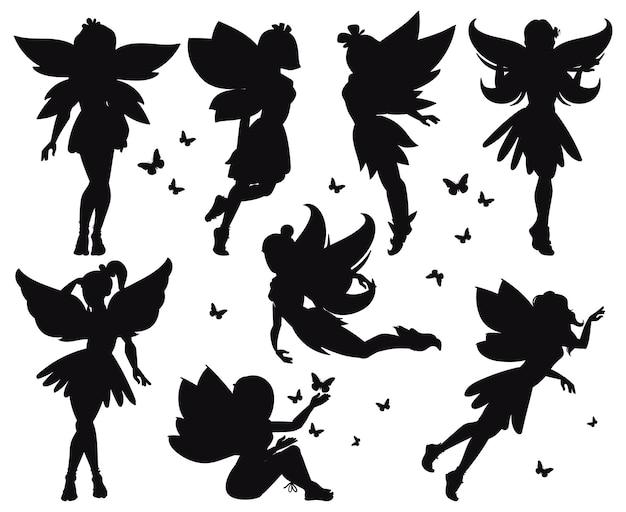 Cartoon magische märchen kleine feen silhouetten. magische kleine feenmädchen, die mit schmetterlingsvektorillustrationssatz fliegen. fantasy-pixie-kreaturen. feenhafte schönheit schwarze silhouette, prinzessinnen-set