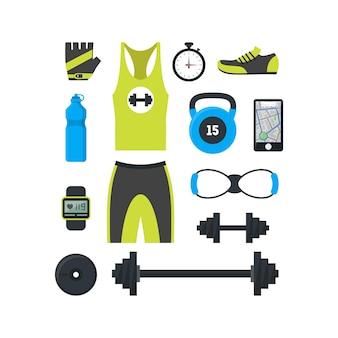 Cartoon man sport set kleidung und ausrüstung für fitness und laufen