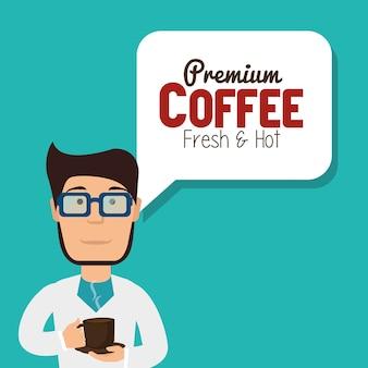 Cartoon mann kaffeepause