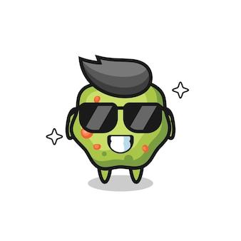 Cartoon-maskottchen aus kotze mit cooler geste, süßes design für t-shirt, aufkleber, logo-element