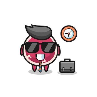 Cartoon-maskottchen aus rindfleisch als geschäftsmann, niedliches design für t-shirt, aufkleber, logo-element
