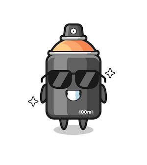 Cartoon-maskottchen aus sprühfarbe mit cooler geste, süßes design für t-shirt, aufkleber, logo-element