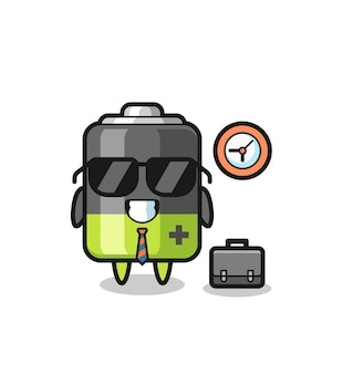 Cartoon-maskottchen der batterie als geschäftsmann, niedliches design für t-shirt, aufkleber, logo-element