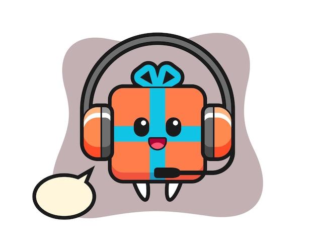 Cartoon-maskottchen der geschenkbox als kundendienst