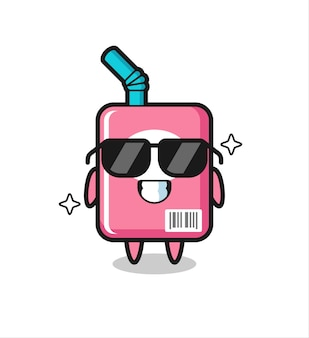 Cartoon-maskottchen der milchbox mit cooler geste, süßem design für t-shirt, aufkleber, logo-element