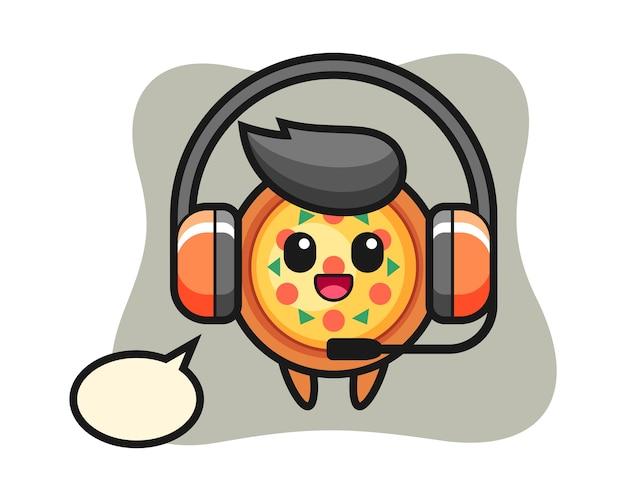 Cartoon-maskottchen der pizza als kundendienst