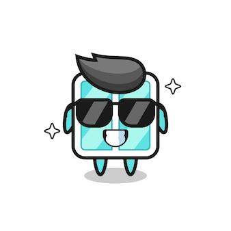 Cartoon-maskottchen des fensters mit cooler geste, süßes design für t-shirt, aufkleber, logo-element
