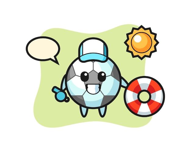 Cartoon-maskottchen des fußballs als strandwache, niedliches design für t-shirt, aufkleber, logo-element