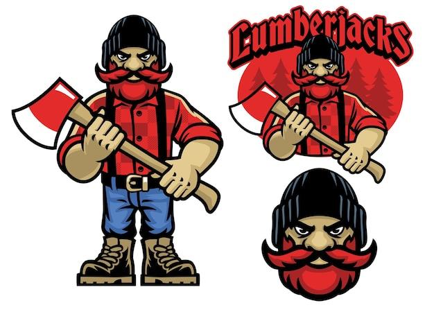 Cartoon-maskottchen des holzfällers im bundle-set