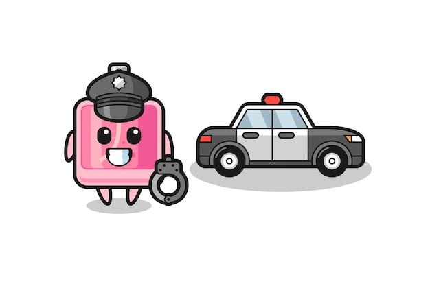 Cartoon-maskottchen des parfüms als polizei, niedliches design für t-shirt, aufkleber, logo-element