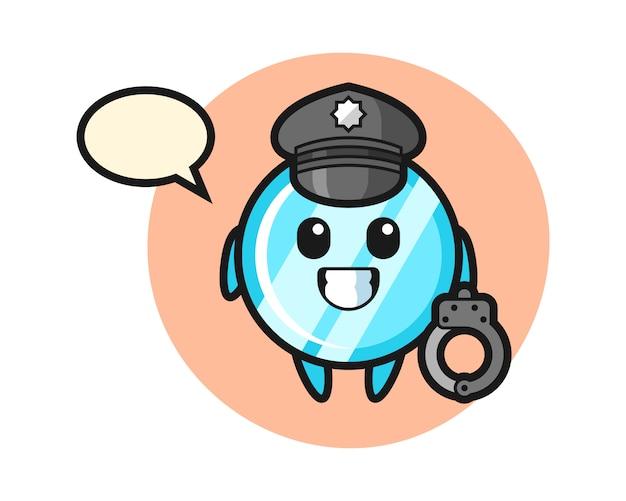 Cartoon-maskottchen des spiegels als polizei
