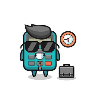 Cartoon-maskottchen des taschenrechners als geschäftsmann, niedliches design für t-shirt, aufkleber, logo-element