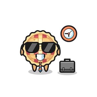 Cartoon-maskottchen von apfelkuchen als geschäftsmann, niedliches design für t-shirt, aufkleber, logo-element
