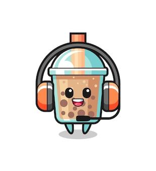 Cartoon-maskottchen von bubble tea als kundenservice, niedliches design für t-shirt, aufkleber, logo-element