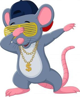 Cartoon maus tupft tanzen trägt eine sonnenbrille, hut und goldkette