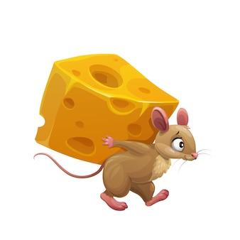 Cartoon-maus und großes stück käse, süße rattenfigur trägt eine riesige scheibe käse