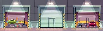 Cartoon-Mechanik-Box mit Auto auf Lift, Reparatur des Fahrzeugs.