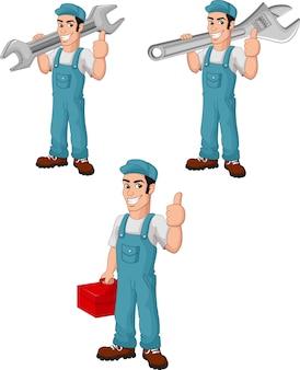Cartoon mechaniker sammlungssatz