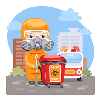 Cartoon medical biohazard worker