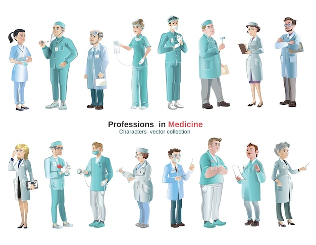 Cartoon medical characters set