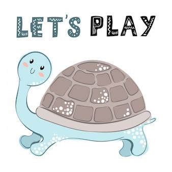 Cartoon-meeresschildkröte, kartenschablone