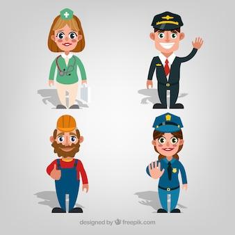 Cartoon menschen mit verschiedenen jobs