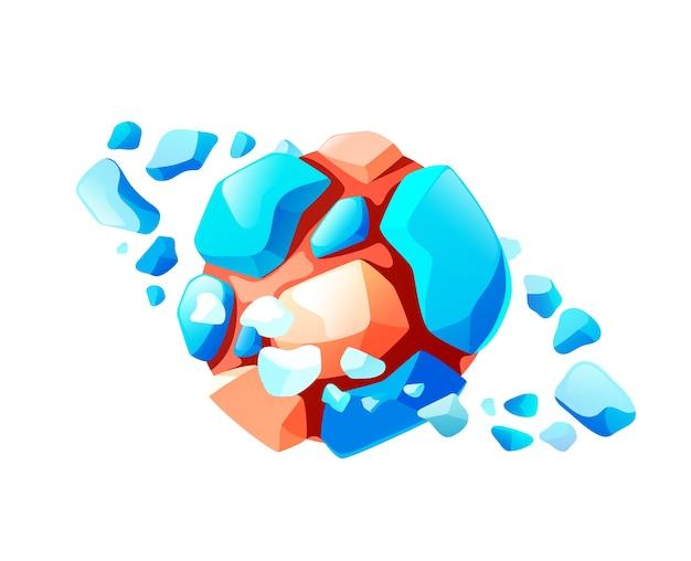 Cartoon-meteorit, der im universum schwimmt