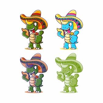Cartoon mexikanische schildkröte essen tacos und verwenden sombrero