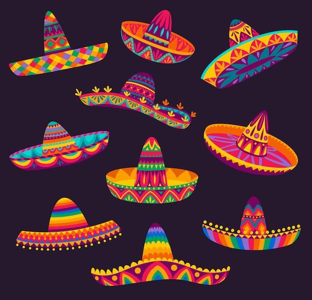 Cartoon mexikanischer sombrero, hüte von mariachi-musiker