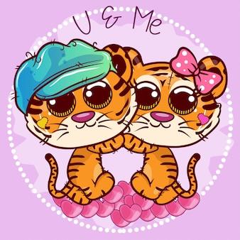 Cartoon mit zwei kleinen niedlichen tigern mit herzen. vektor