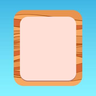 Cartoon mobile ui popup-panel mit holzmuster-premium-vektor