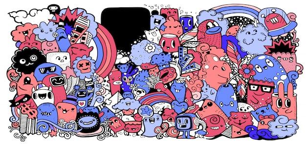 Cartoon-monster-auflistung. reihe von cartoon-monster-gruppe