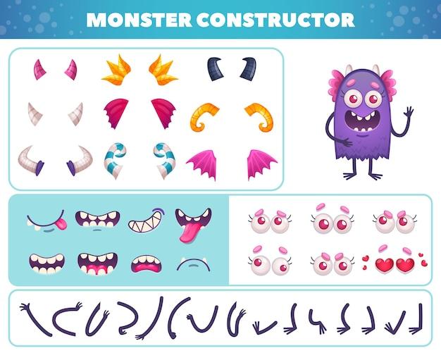 Cartoon-monster-emoticons mit gesichtsmaskenelementen und konstrukteurstücken für die erstellung von doodle-beast-charakteren