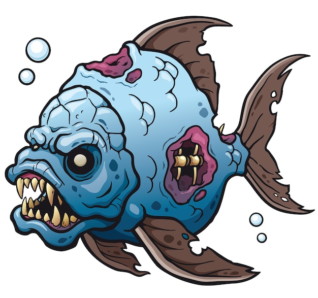 Cartoon monster fisch