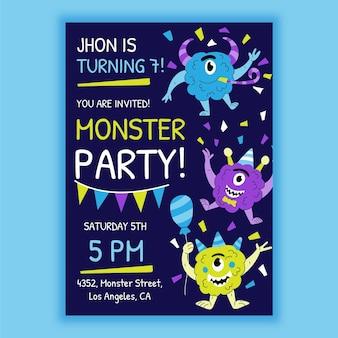 Cartoon monster geburtstag einladungsvorlage