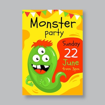 Cartoon monster geburtstagseinladungsvorlage