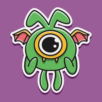 Cartoon monster gekritzel isoliert auf lila
