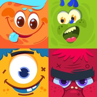 Cartoon monster gesichter. furchtsame ausländische monstermasken des karnevals. zeichen gesetzt